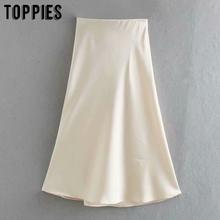 2020 białe satynowe spódnice midi wysokiej talii różowe spódnice trapezowe letnie damskie falas streetwear