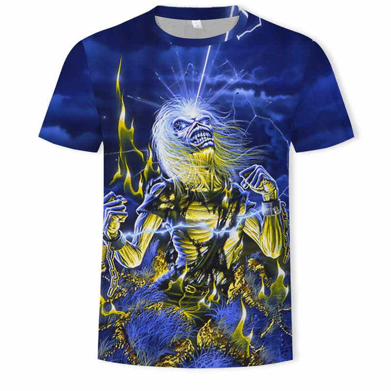 Zomer hot-verkoop metal T-shirt ROCK BAND 3d t-shirt Zomer horror t-shirt 3d Mannen mode t-shirts straat Hip-Hop stijl Tops & Tees