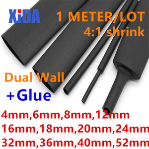 Heat Shrink Tube with Glue Adhesive Lined 4:1 Dual Wall Tubing Sleeve Wrap Wire Cable kit 4mm 6mm 8mm 12mm 16mm 20mm 24mm 32mm(China)