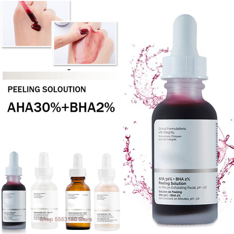 The Ordinary AHA 30% + BHA 2% Peeling Solution 30ml Whitening Exfoliating Mask Remove Acne Scars Facial Serum 10mins Skin Care