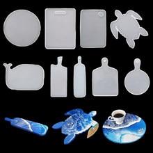 Retângulo redondo lidar com bandeja moldes de resina coaster silicone molde para diy cristal cola epoxy resina coaster decoração para casa artesanato resina