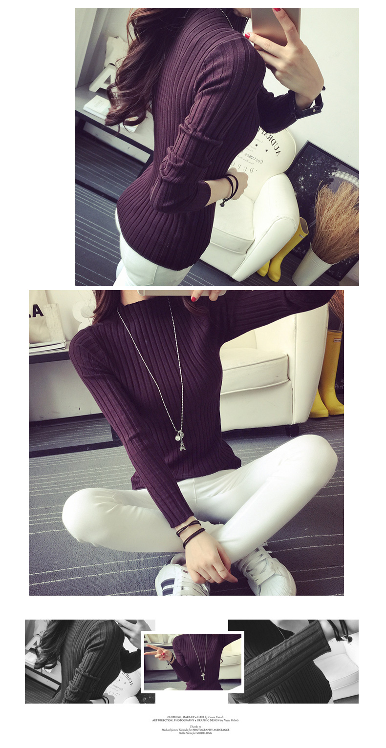 19 Autumn and winter New Korean Half turtleneck Sweater jacket Womens Long Sleeve Set head All-match knitted Sweater woman 4