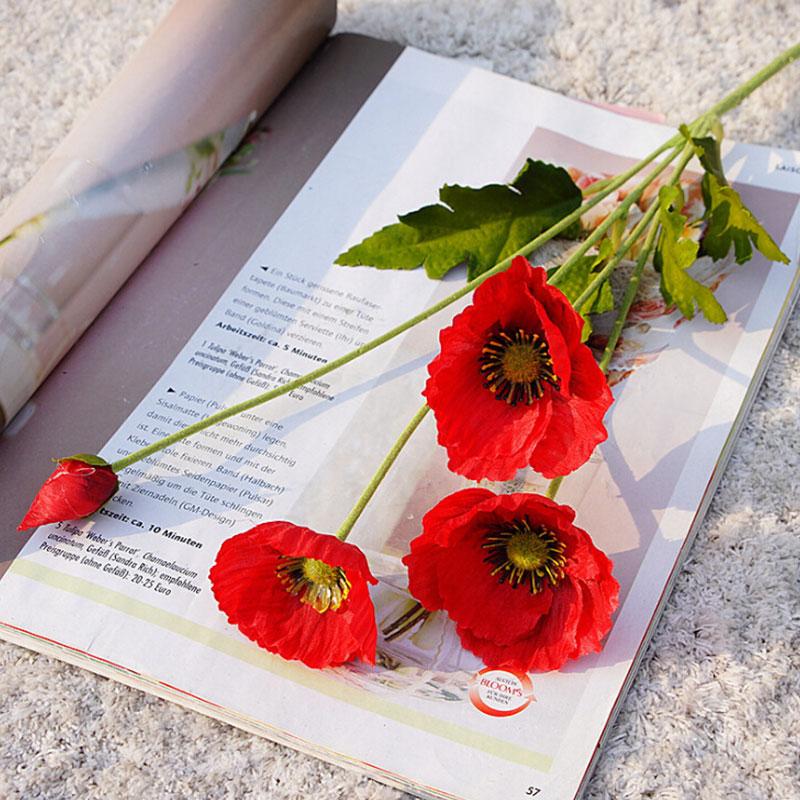 Искусственный цветок мака, свадебный букет подружки невесты, искусственные цветы, шелковые, для спальни, вечерние, офисный декор, для сада, р...