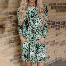 Большие размеры женские мини платья с леопардовым принтом осенние