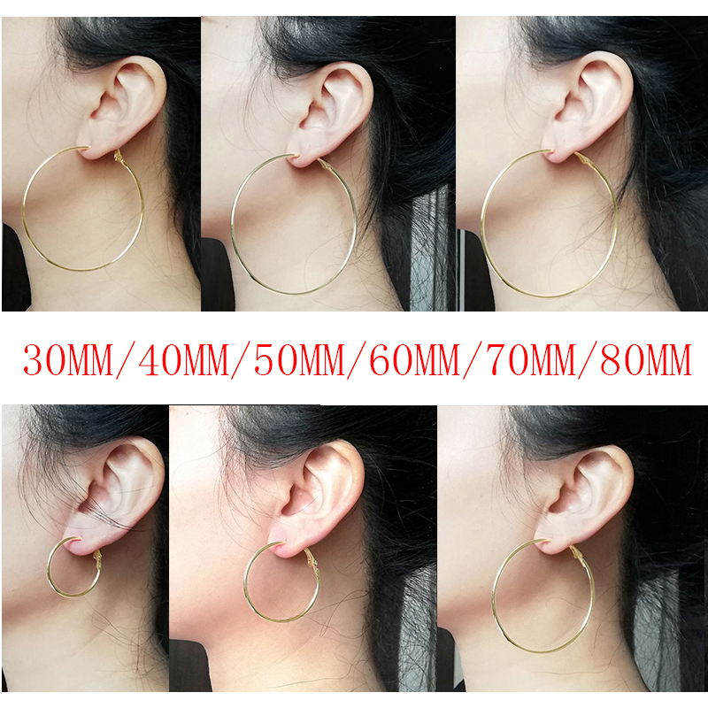 Fashion Super Large 30mm/40mm/50mm/60mm/70mm/80mm Gold Silver Color Creole Big Circle Statement Chandelier Earrings Rings Hoops