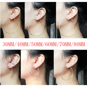 Fashion Super Large 30mm/40mm/50mm/60mm/70mm/80mm Gold Silver Color Creole Big Circle Statement Chandelier Earrings Rings Hoops(China)