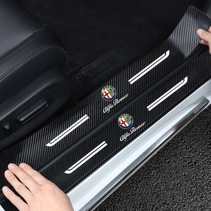 NEW 4PCS Carbon Fiber Door Sill Protector Leather Vinyl Stickers For Alfa Romeo 159 Giulietta Giulia 147 156 Car Accessories