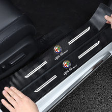 NEW 4PCS Carbon Fiber Door Sill Protector Leather Vinyl Stickers For Alfa Romeo 159 Giulietta Giulia 147 156 Car Accessories