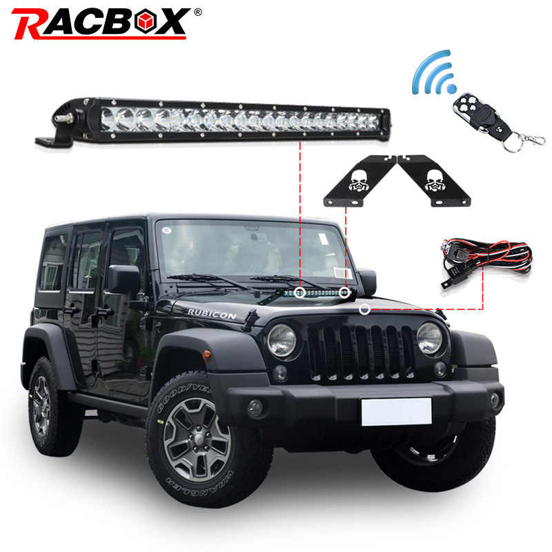 5D LED Light Bars Offroad 20 inch 100W With Cree Chips Single Row Combo Beam Mounting Bracket For Car JEEP Wrangler JK 2007-2015