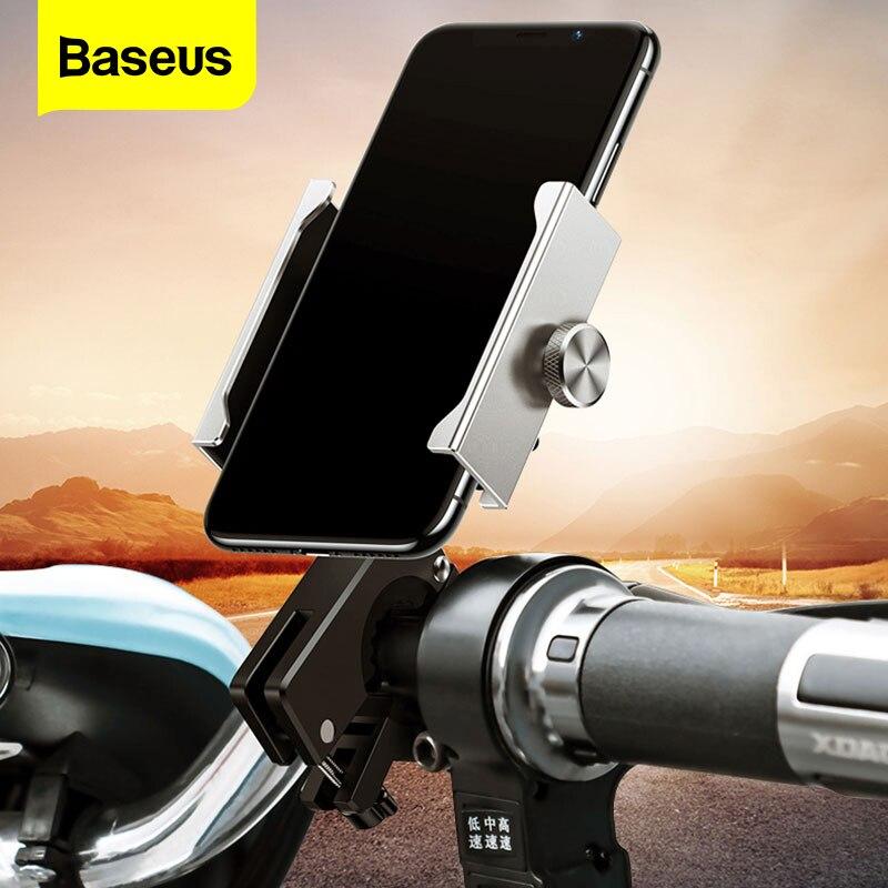 Держатель для телефона Baseus, алюминиевый сплав, для мотоцикла 3,5 6,5 дюймов, регулируемая подставка для телефона, GPS, велосипед|Универсальный автомобильный держатель|   | АлиЭкспресс
