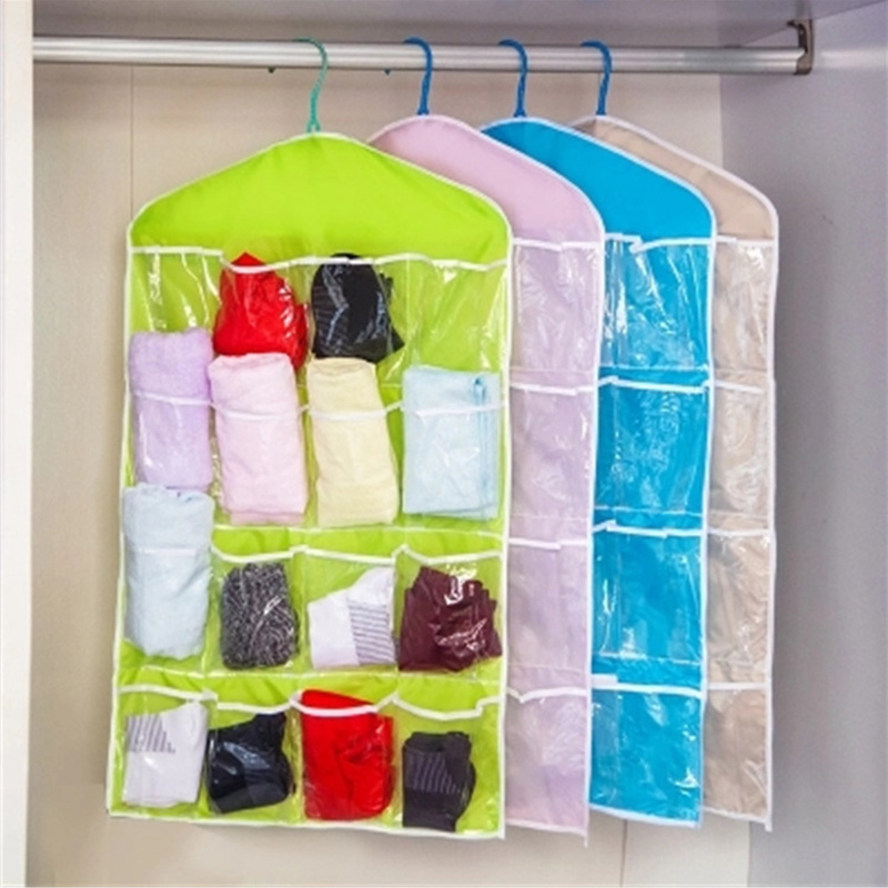 Portable Bra Underwear Organizer Hanging Bag 16 Pockets Polyester Shoes Rack Save Space Multifunction Clear Hanging Organizer