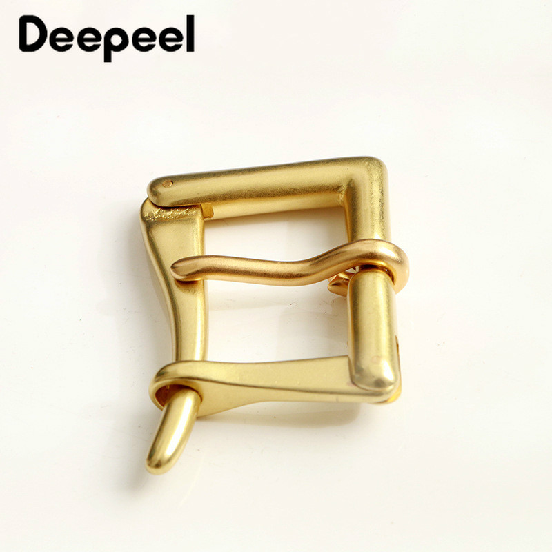 Deepeel 3.9cm Men's Pure Brass Pin Buckle Head Quick Open Buckle Head Fit 3.6-3.8cm Belt DIY Leather Craft Hardware Accessories