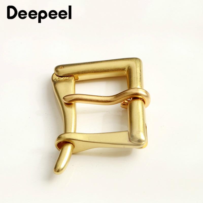 Deepeel 3.9cm Men's Pure Brass Pin Buckle Head Quick Open Buckle Head Fit 3.6-3.8cm Belt DIY Leather Craft Hardware Accessories