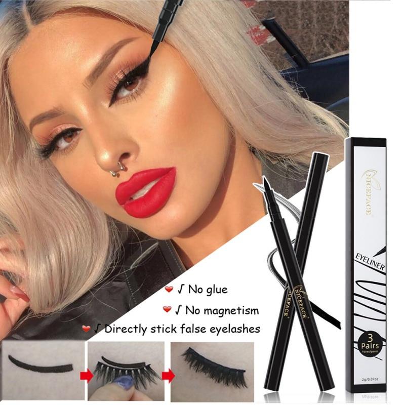 Magic Eyeliner Viscous Eyeliner No Glue No Magnet Quickly Stick False Eyelashes Black Waterproof Eyeliner Self-Adhesive Eyeliner