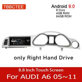Android 9.0 4+64GB Car Multimedia Player For Audi A6 C6 4f 2005~2011 MMI 2G 3G RHD Car GPS Navigation Navi stereo touch monitor for audi q7 4l 2005 2010 mmi android car radio amplifier gps navigation multimedia player wifi bt navi map hd
