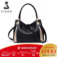FOXER Brand Women Genuine Leather Handbag Fashion Female Tote Commuter Style Shoulder Bag High Quality Lady Fall Winter Handbags