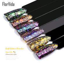 FlorVida 0.2g Nail Art Glitter Foil Powder Sequins Thin Slice Sparkly Laser Mirror For Nails Design