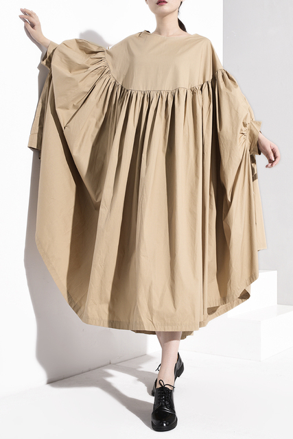 [EAM] Women Black Oversize Long  Pleated Dress New Round Neck Long Sleeve Loose Fit Fashion Tide Spring Autumn 2020 1A4560