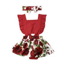 0-24M Infant Newborn Baby Girl Flower Rompers Sleeveless Ruffles Jumpsuit Headband Red Christmas Girls Costumes Clothing