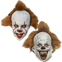 Máscara de látex del Joker, máscara de Pennywise It de Stephen King, máscara de Cosplay de payaso de terror con peluca, accesorios para fiesta de Halloween, novedad de 2019