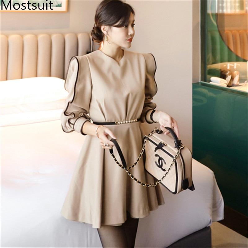 2020 Spring Korean Office Elegant Women Dress Long Sleeve O-neck Belted Pleated Mini Dresses Fashion Ol Style Solid Vestidos