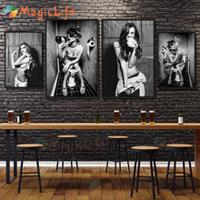 Vintage wc sexy mulher menina senta-se no vaso sanitário nórdico poster posters quadros de parede para sala estar arte da parede pintura da lona sem moldura