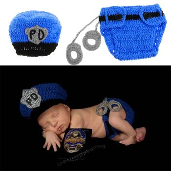 1 pc Newborn Police Design Photography Props Infant Toddler Costume Outfit Crochet 1set newborn police design photography props infant toddler costume outfit crochet