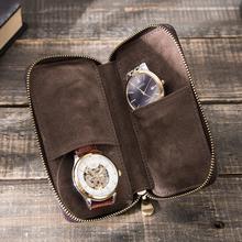 Rustykalne skórzane 2-slotowe pudełko na zegarek luksusowe etui z zamkiem błyskawicznym przenośny Organizer torba mieści 2 zegarki brązowe tanie tanio CN (pochodzenie) Pudełka do zegarków Antique 15cm Nowy bez tagów CF1117 ROUND 1 2inch 3 3inch 5 9inch Skóra 2 slots portable