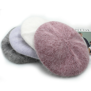 Image 5 - [Rancyword]  Fashion New Women Angora rabbit Solid Color Beret Female Bonnet Caps Winter All Matched Warm Walking Hat Beanie Hat