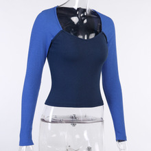 Sexy Colorblock Ribbed Knit T-shirt Women's Square Neck Long Sleeve Slim Slimming Top Autumn Tops