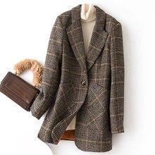 Bella Philosophy Spring Autumn Vintage Women Plaid Suit Jacket Ladies Slim Casual Wool Blazer Single Breastered Coat