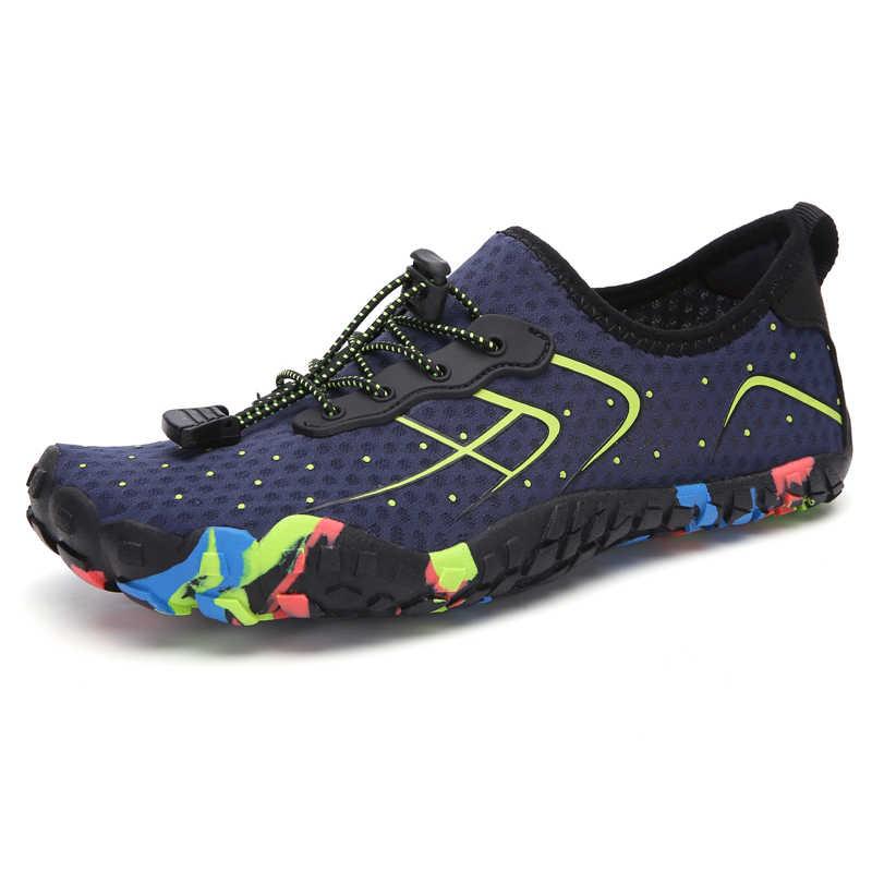 ท่องใหม่ผู้ชายรองเท้าผ้าใบกลางแจ้งรองเท้าสำหรับสระว่ายน้ำรองเท้าผู้หญิงตกปลาน้ำAquaรองเท้าWading Barefoot Beach