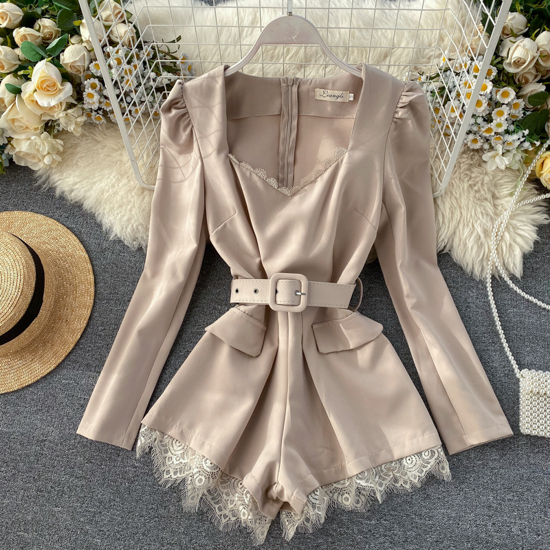 Women Retro Solid One-piece Lace V-neck Long Sleeve High Waist Wide Leg Eyelash Playsuits Solid Color Elegant Overalls L019