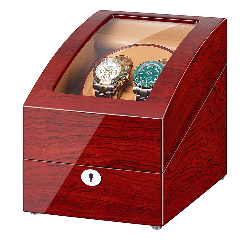 JQUEEN Automatic Rosewood <font><b>Watch</b></font> <font><b>Winder</b></font> <font><b>2</b></font>+<font><b>3</b></font> Wood Storage Display Case Box image