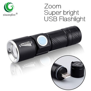 USB Built-in battery Rechargeable lasting Flashlight Q5 3 modes mini Zoom Light flash Waterproof Tactical Camping Bike Torch