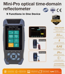 FTTH   OTDR Fiber Optic Reflectometer with 9 Functions VFL OLS OPM Event Map 24dB for 64km Fiber Optic Tester