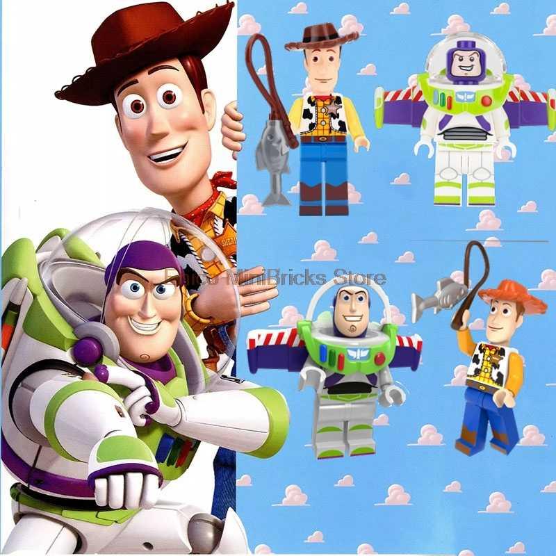 História de brinquedo 4 super heróis anime figura ação buzz lightyear woody jessie lotso bulleye blocos de construção brinquedos para crianças