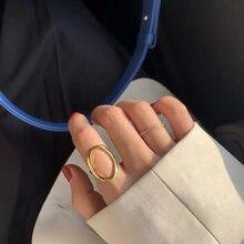 18K importation solide or jaune bijoux (AU750) femmes conception creuse simple et polyvalent cercle anneau mince doigts mode dame