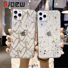 KJOEW Electroplated Love Heart Stars Wave Point Phone Case For iPhone 11 Pro Xs Max X XR 6 6S 7 8 Plus Soft Transparent Cover oneplant electroplated love heart phone case for iphone 11 pro max xr xs x xs max silica gel phone cover for 7 8 6 6s plus