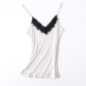 Image 5 - Doğal ipek dantel üst artı boyutu kombinezonlar kadın iç çamaşırı üst femme fanila kadın kaşkorse ipek kaşkorse beyaz halter üst