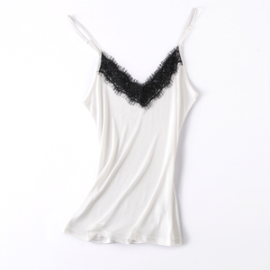 Image 5 - Natural silk lace top plus size camisoles for women lingerie top femme undershirt women Camis silk camisole white halter top