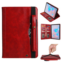 SM T865 for Samsung Galaxy Tab S6 SM T860 Case Premium PU Leather for Samsung Tab S6 T860 Tablet Case with Wallet Bag+Film+Pen