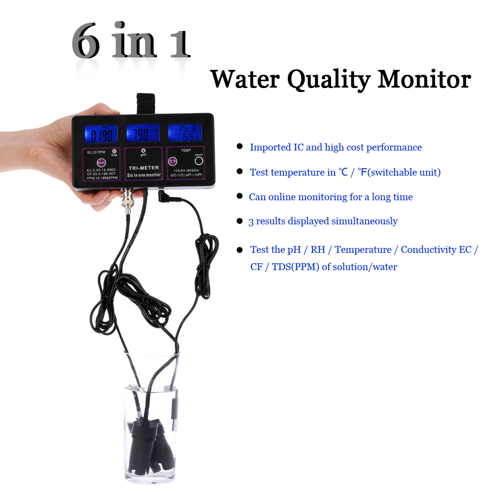 Mandycng Portable Garden Farm TDS Meter Digital 6in1 LCD Smart Tester Water Purity PPM Filter PH CF Temp Hydroponic Productivity Tool Laboratory Moisture pH Tester
