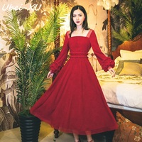 Ubei 2019 Fahion Corduroy sexy red long sleeved dress Princess dress Sweet women Autumn/Winter red long dress