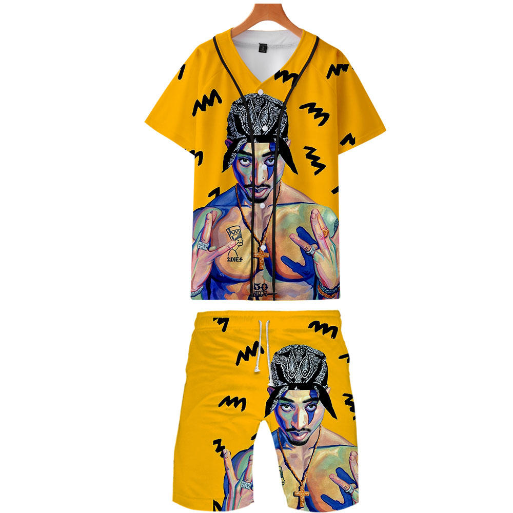 2019 2PAC Two Piece Set Jackets And Shorts Kpop Fashion New Brand Cool Print 2PAC Baseball Jacket Set For Men Summer