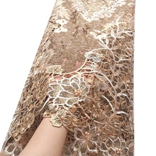 Luxury 3d Flower Fabric Embroidered Lace with Beads Mesh Gold African Lace Fabric Water Soluble Nigeria Guipure Cord Lace Fabric