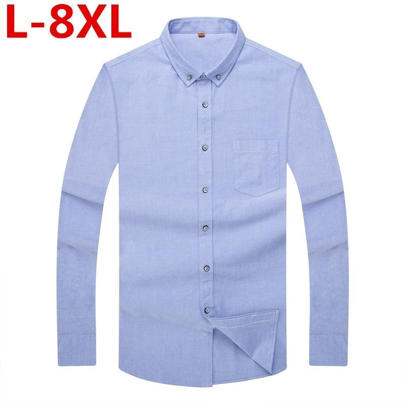 Plus Size 8XL 7XL 6XL  New Quality Men's Slim Long Sleeve Shirt Blue Oxford Shirt Men's Casual Business Shirt 4 Colors Big Size