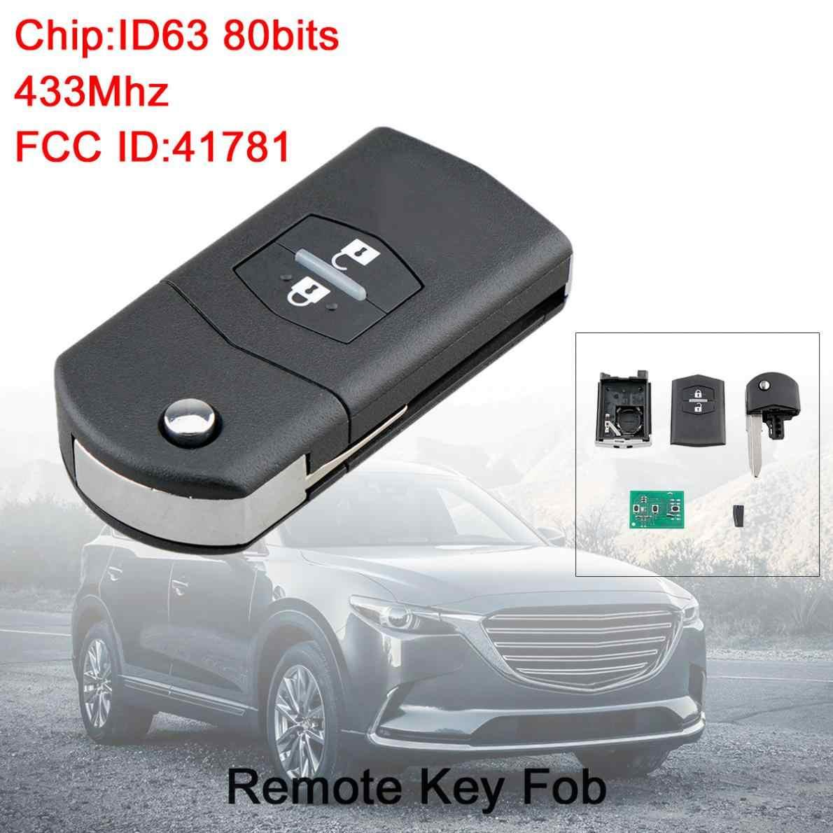 433Mhz 2 Knoppen Flip Auto Afstandsbediening Sleutel Keyless Entry Met ID63 80Bit Chip 41781 Fit Voor Mazda 3/ BT-50