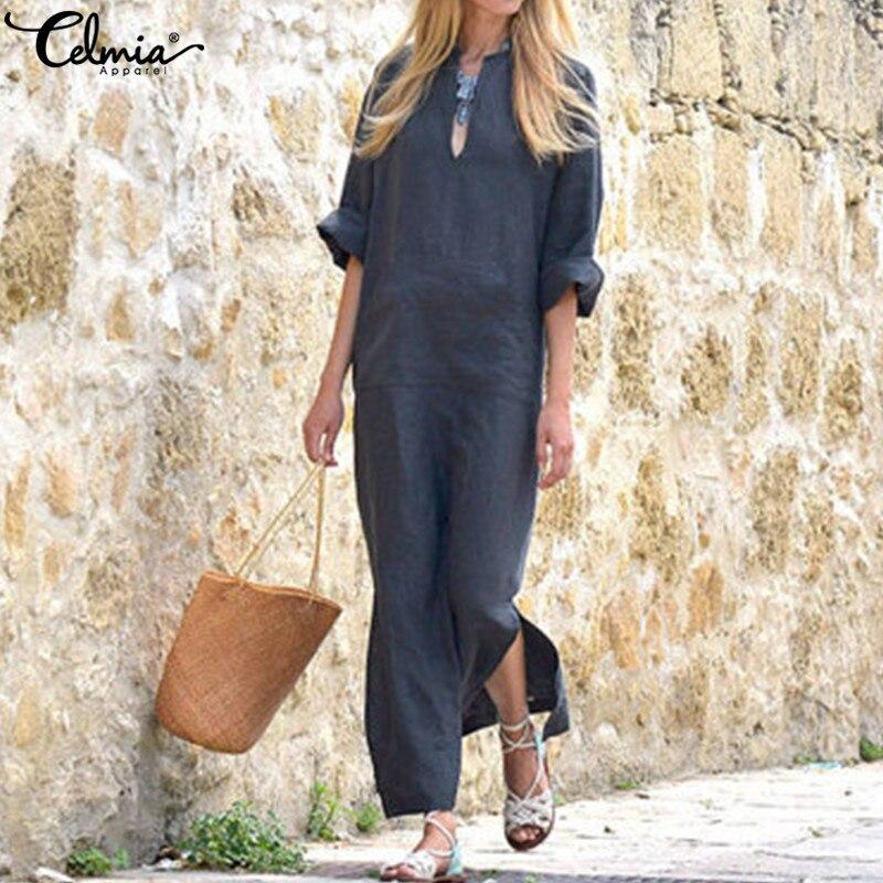 Plus Size Dress Celmia Women Retro Linen Dress 2019 Summer Sexy V Neck Long Sleeve Pockets Casual Loose Long Maxi Vestidos Robe