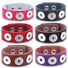 цена на New Snap Jewelry Handmade Braided Leather 3 Button Snap Bracelet Bangles fit 18mm Snap Button DIY Ginger Charm Bracelet